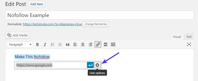 Abra el área de opciones de link