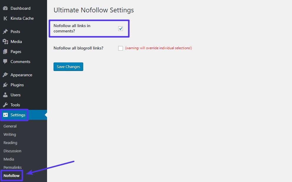 Cómo habilitar la función para agregar automáticamente atributo nofollow a los comentarios