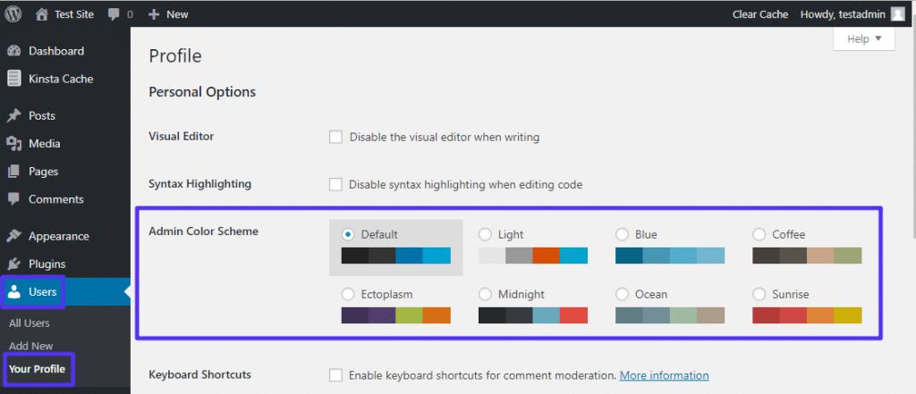 Cambiar la paleta de colores del administrador de WordPress