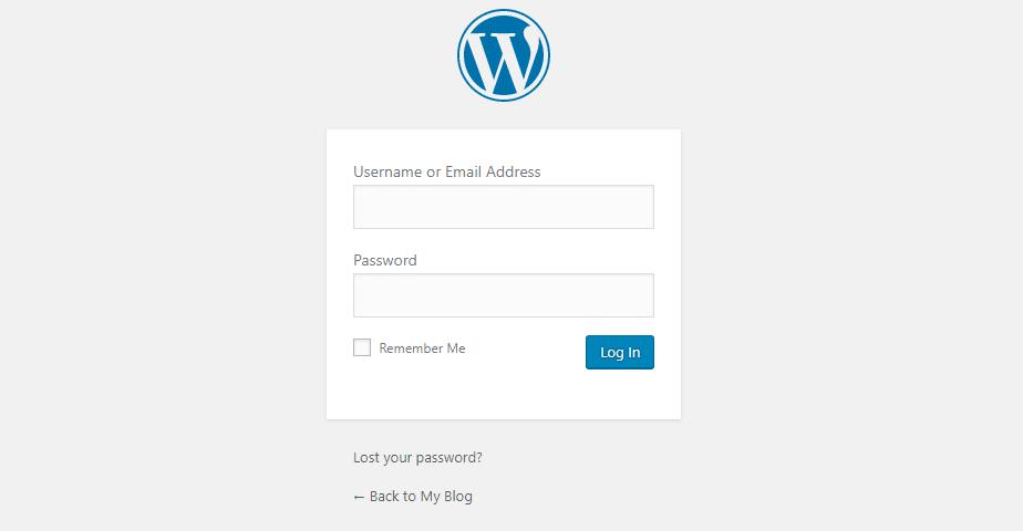 La página de inicio de sesión de administrador de WordPress