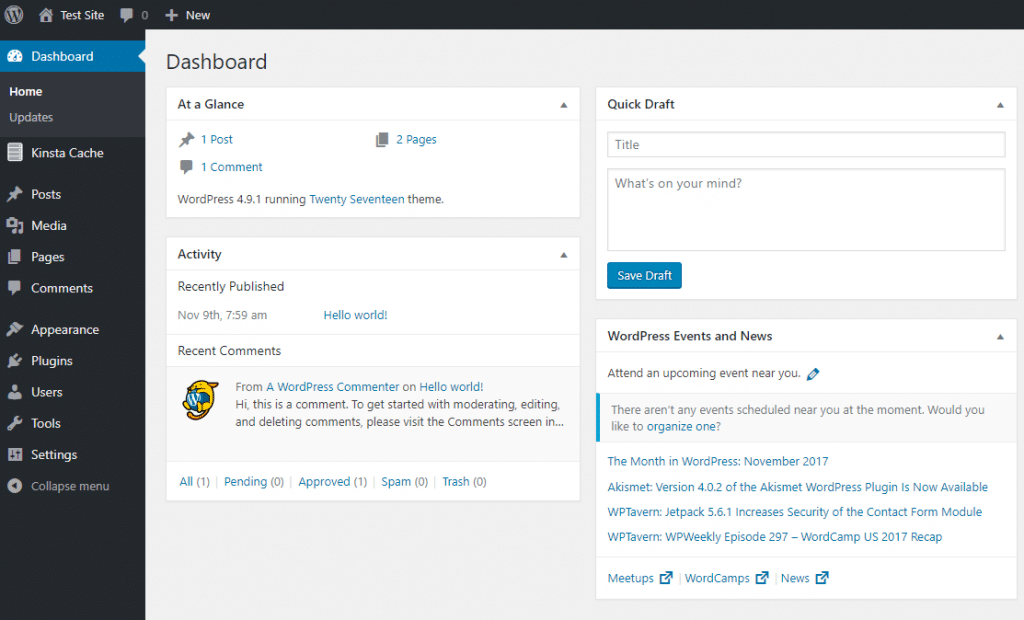 El panel de WordPress