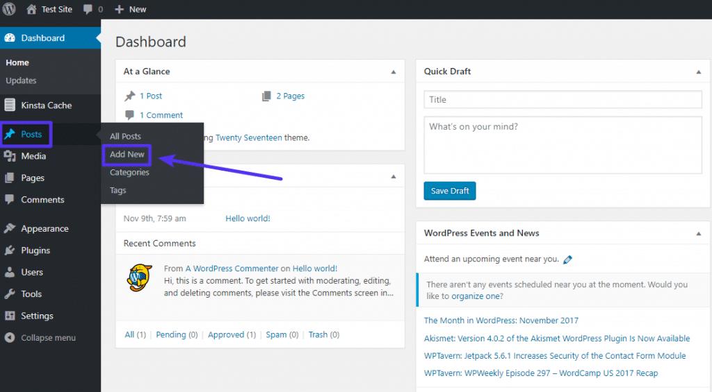 Cómo agregar una nueva publicación en el blog de WordPress