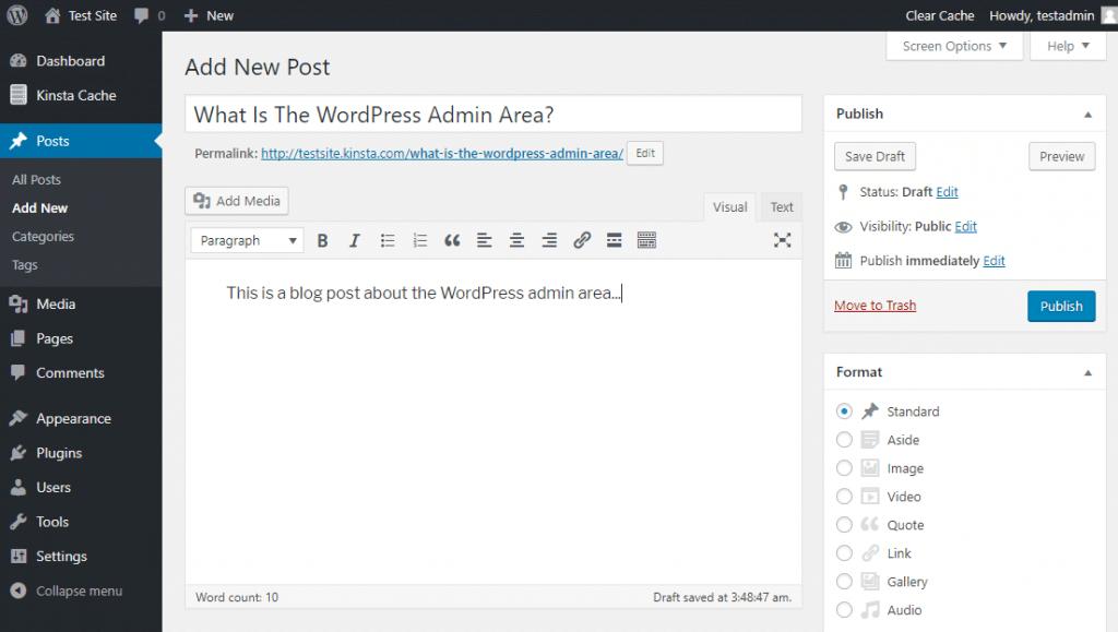 El editor de WordPress