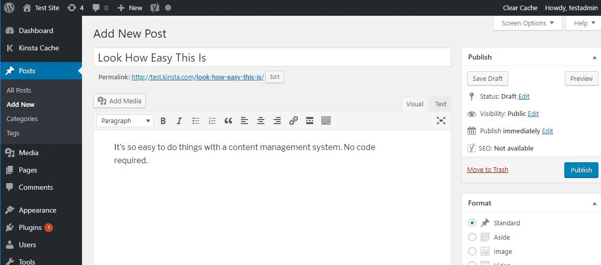La interfaz del editor de WordPress