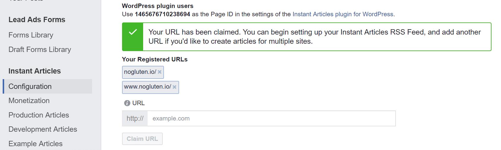 URL de los artículos instantáneos de Facebook reclamados