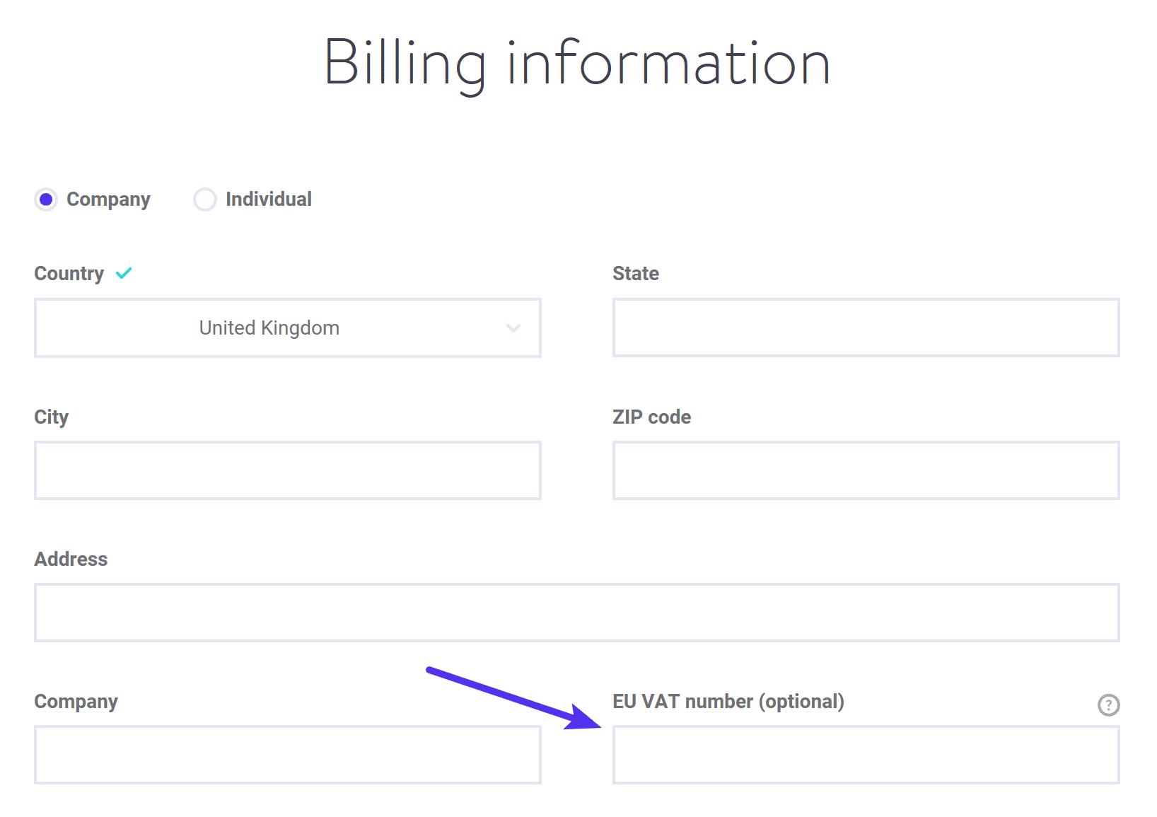 Formulario para agregar número de IVA