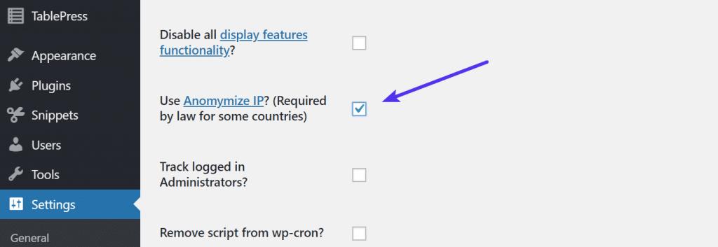 Anonimizar la IP en Google Analytics