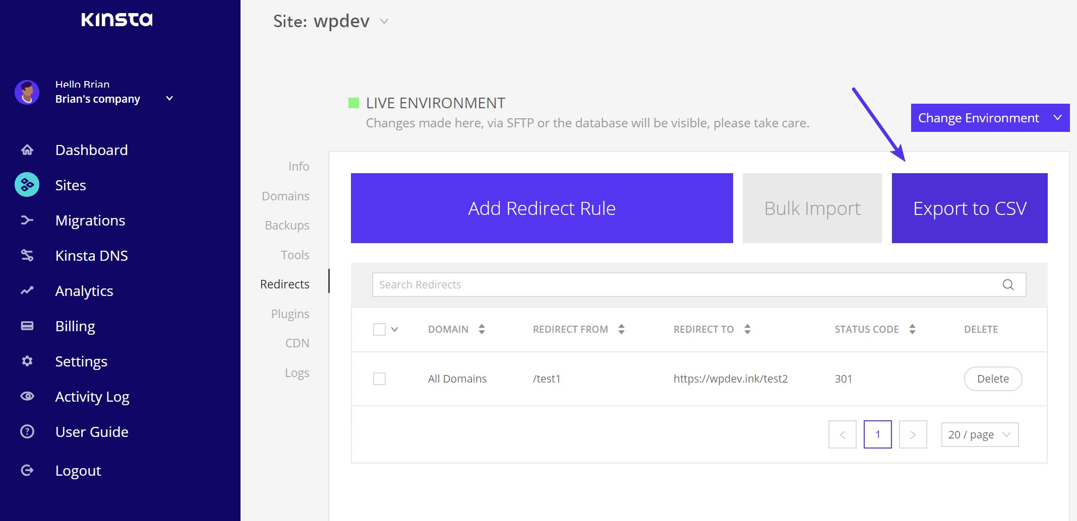 Exportar redirecciones a CSV