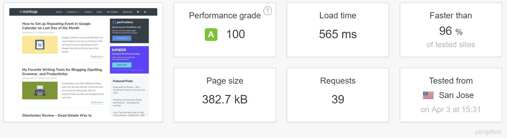Sitio WordPress con cache