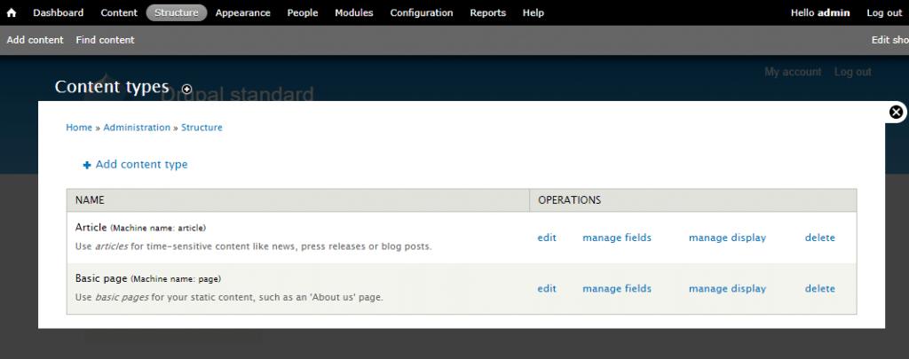 Un ejemplo de los tipos de contenido personalizo de Drupal