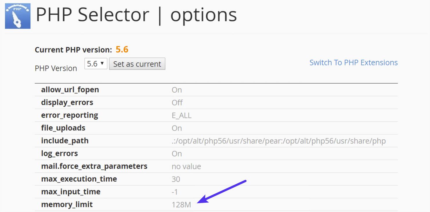 Aumentar el límite de memoria PHP en cPanel