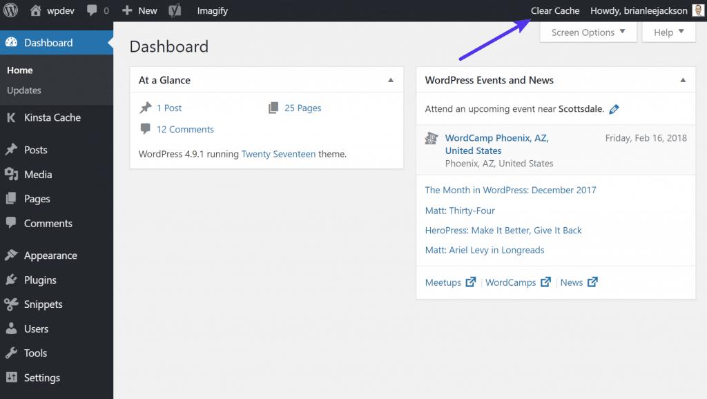 Borrar la cache de Kinsta desde el administrador de WordPress