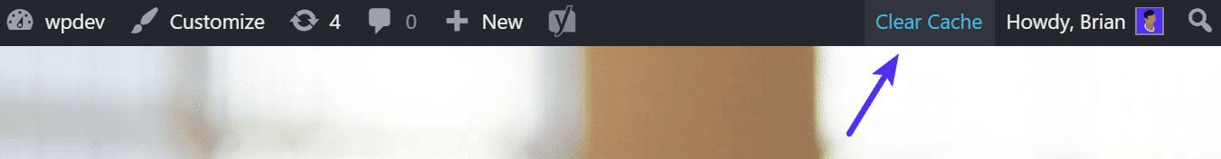 La opción de limpiar la cache de la barra de herramientas en WordPress