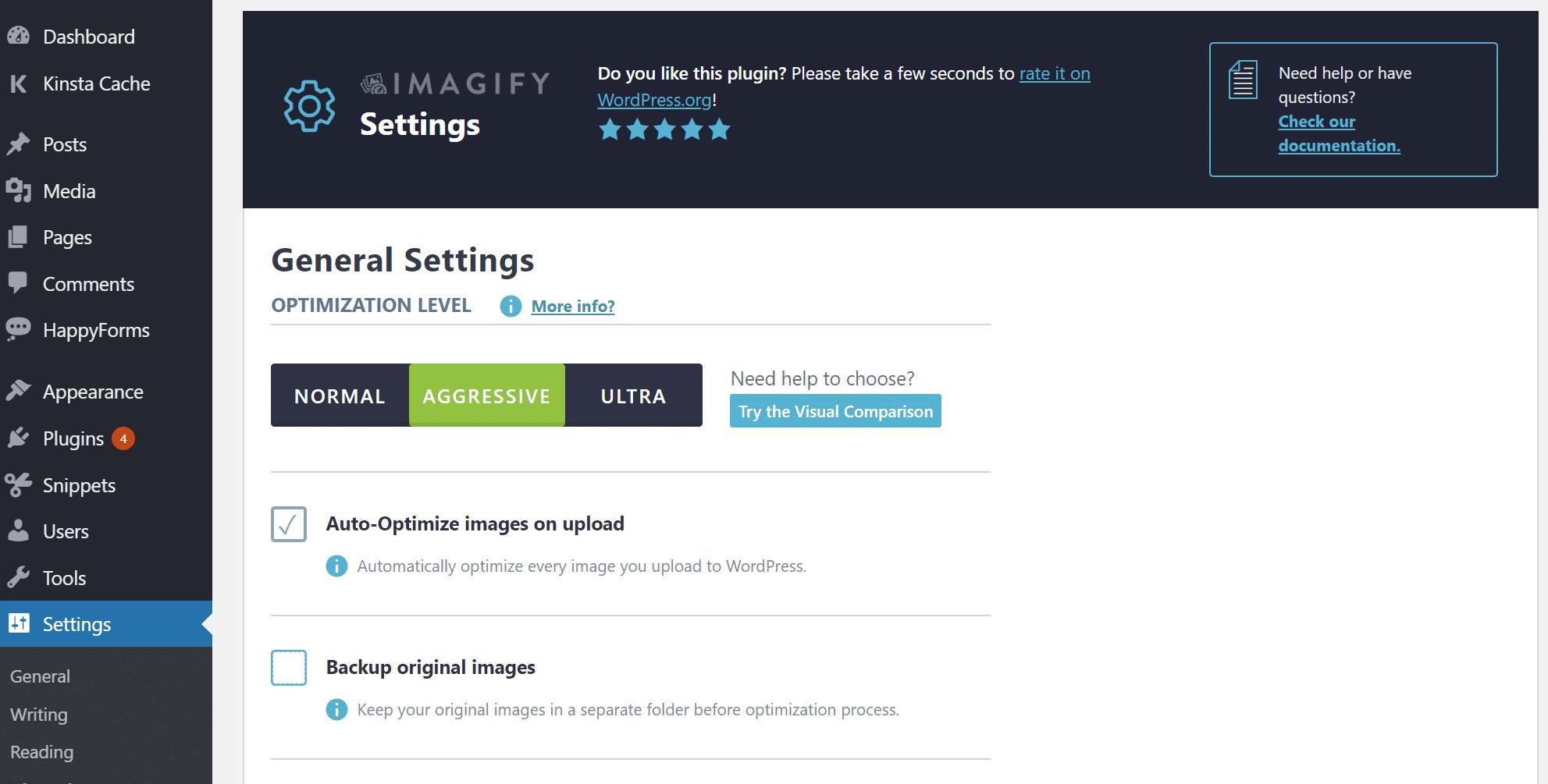 Configuración de Imagify