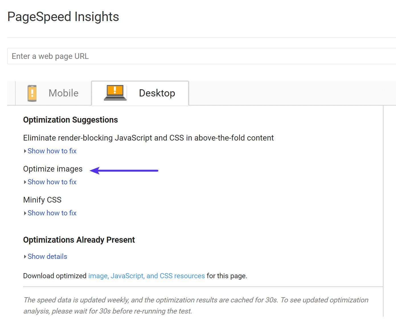Optimización de imágenes de Google PageSpeed Insights
