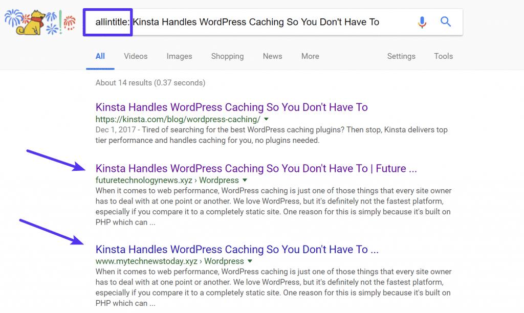 Búsqueda en Google con la etiqueta allintitle
