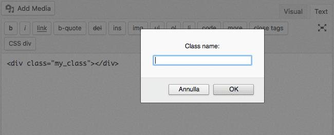 La función callback de nuestro ejemplo solicita un cuadro de entrada que permite a los usuarios establecer un nombre de clase