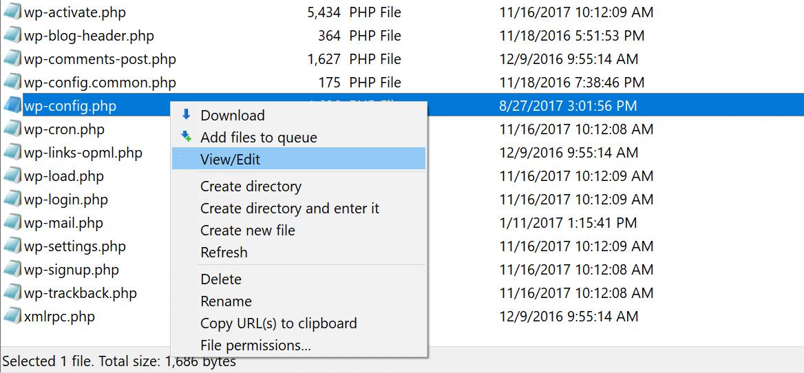 Descargar el archivo wp-config.php