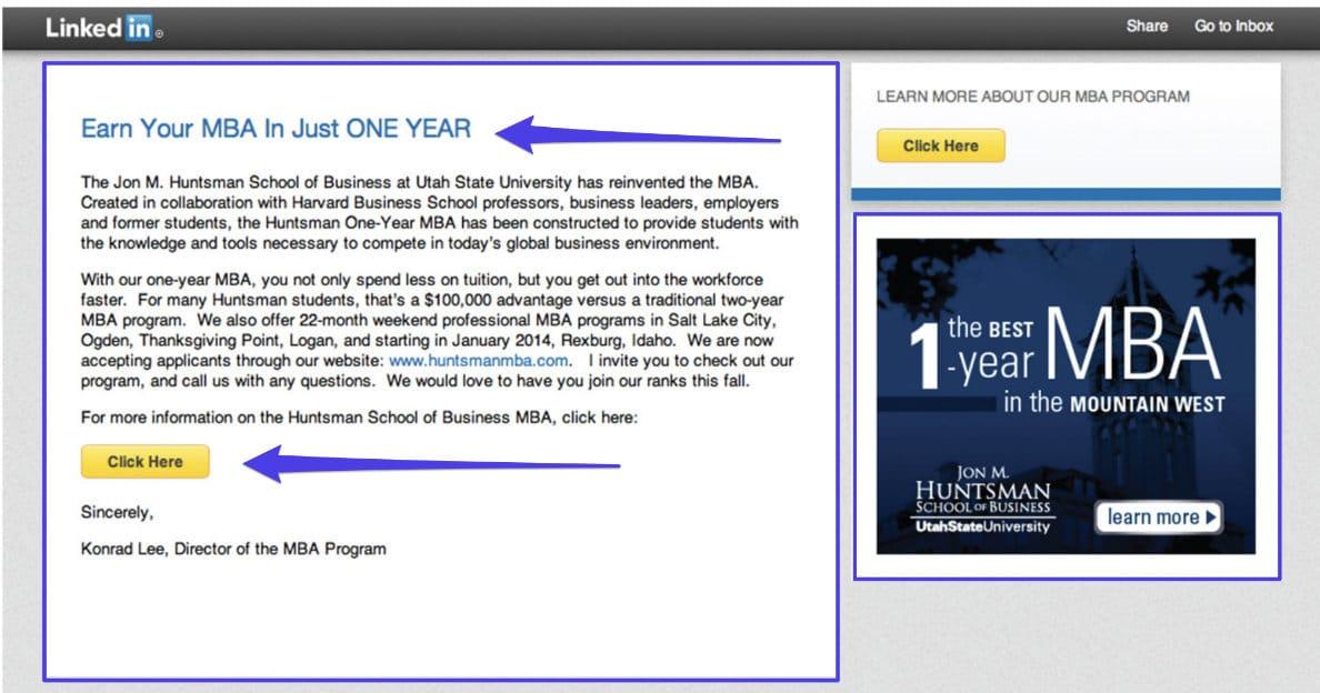 Ejemplo de una campaña de InMail en LinkedIn
