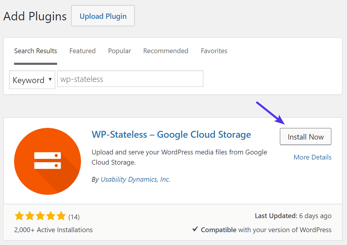 Instalando el plugin WP-Stateless de WordPress