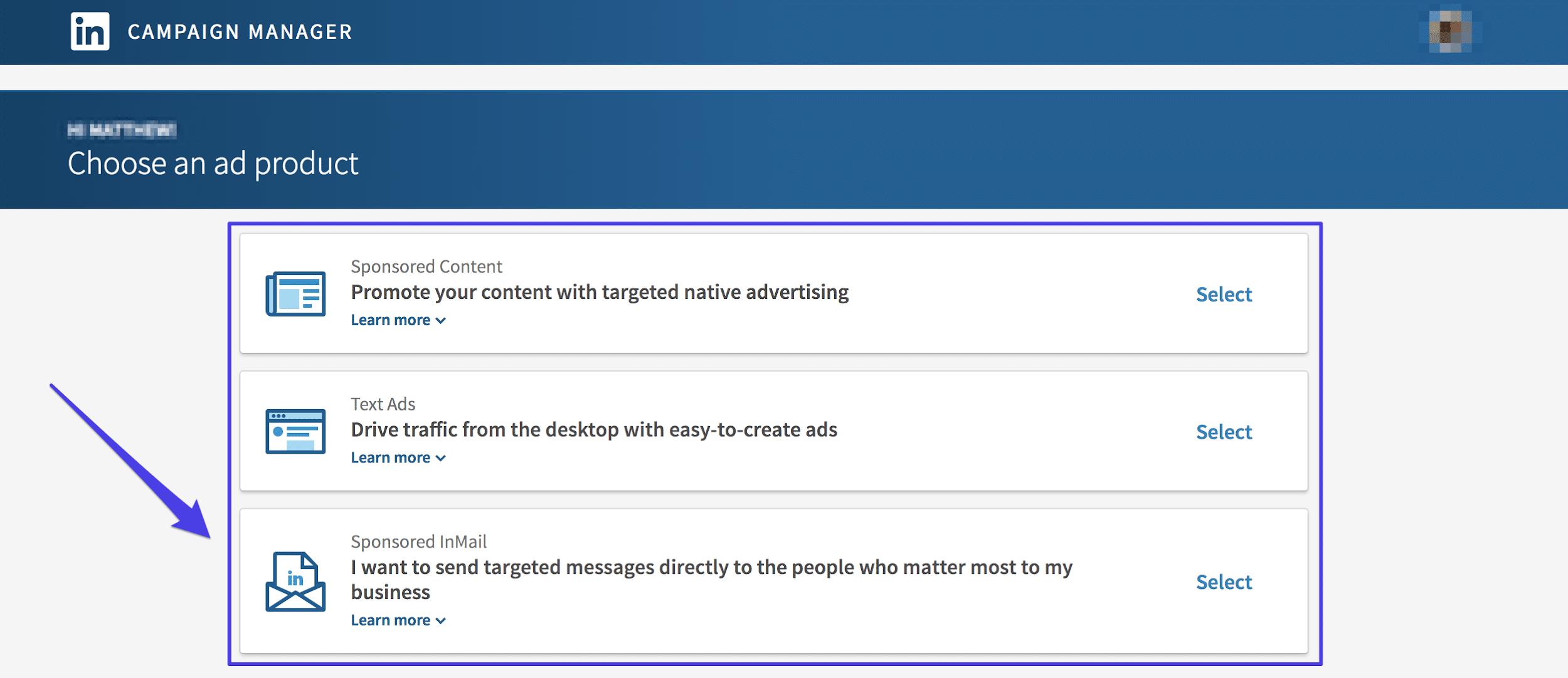 Campaña de InMail en LinkedIn