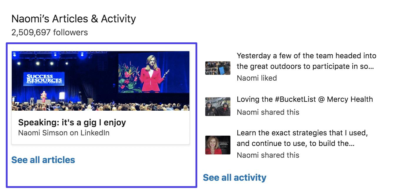 LinkedIn Pulse en un perfil