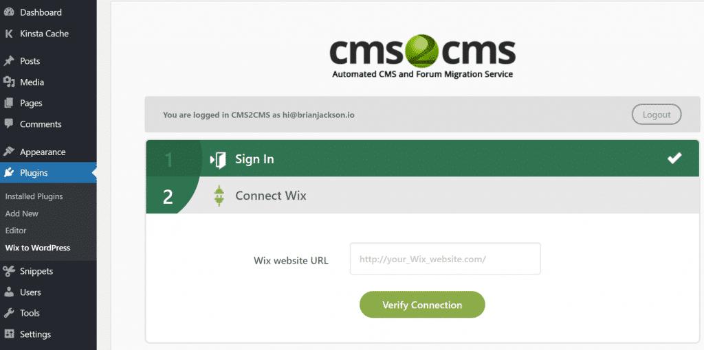 URL del sitio web Wix