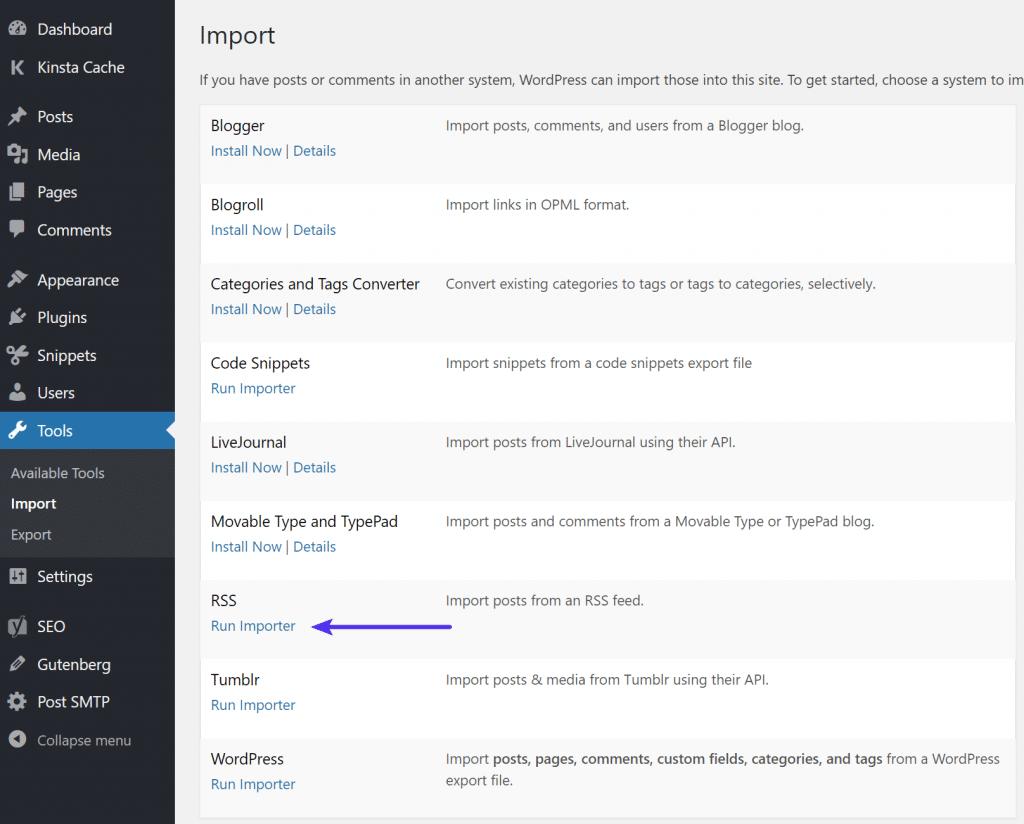 Ejecutar Importador de WordPress RSS