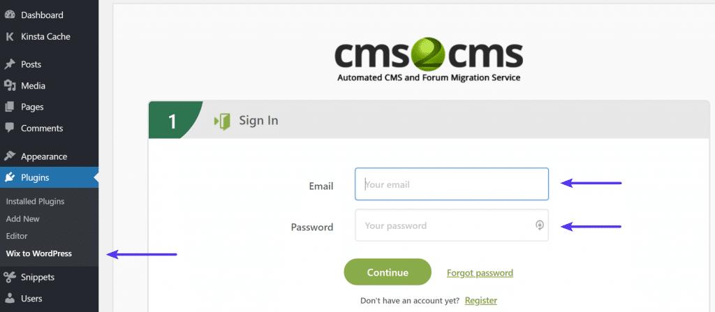 CMS2CMS iniciar sesión