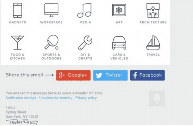 Botones para compartir email