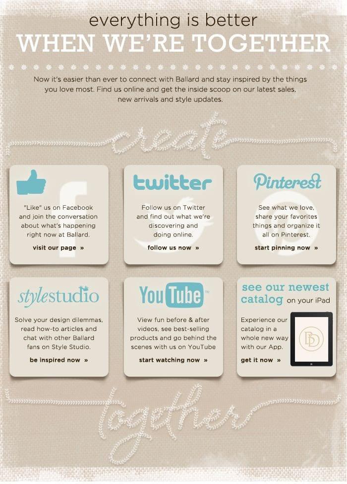 Opciones para compartir en redes sociales en emails
