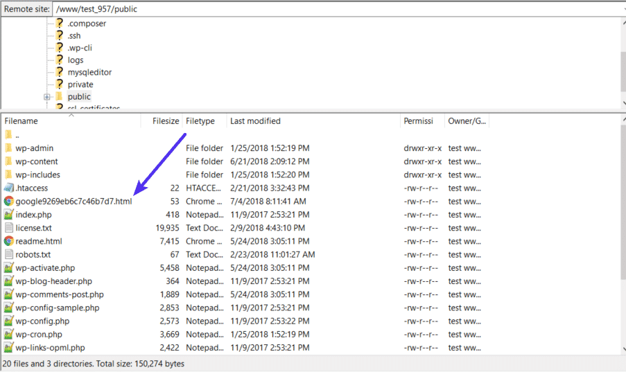 Subir el archivo de verificación a través de SFTP