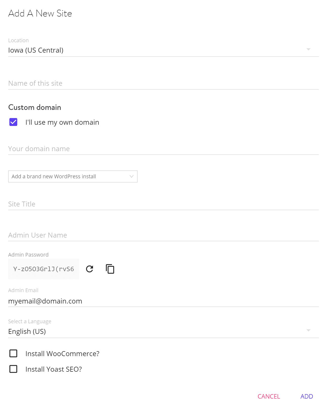 Instalación de un solo clic de WordPress