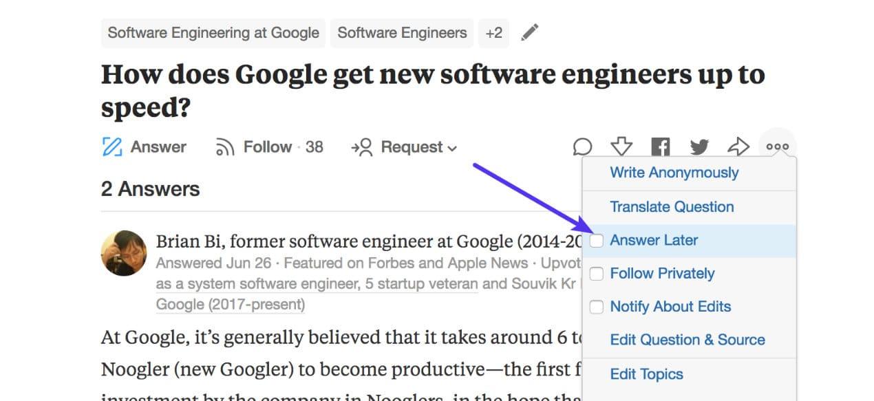 Contestar después en Quora