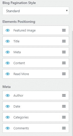 Opciones de Customizer para los detalles del blog