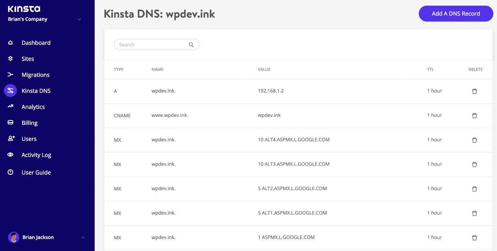 Editando registros DNS