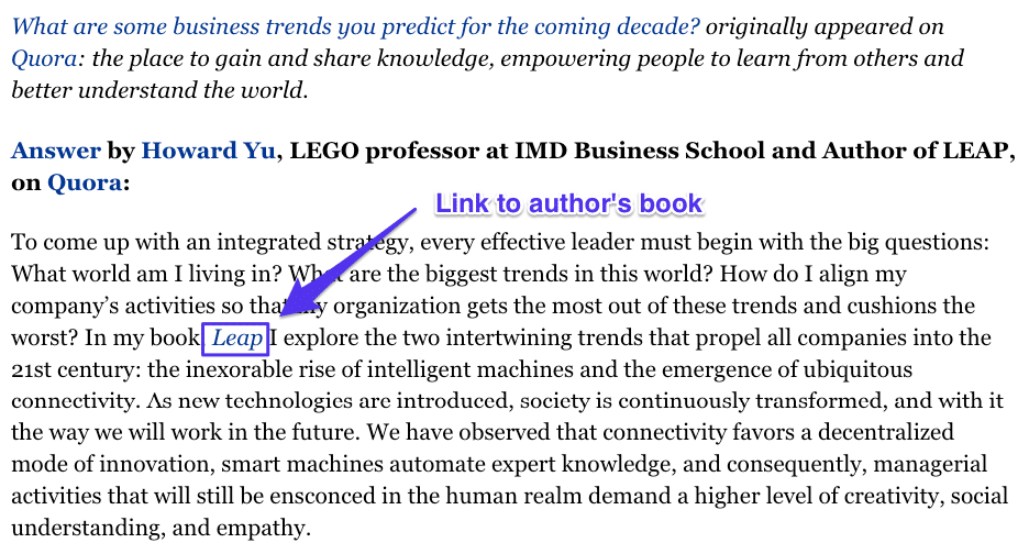 Enlace a un libro a través de Quora