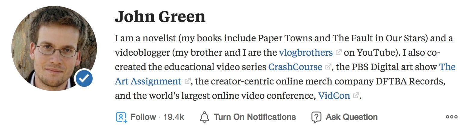 Enlaces en un perfil en Quora