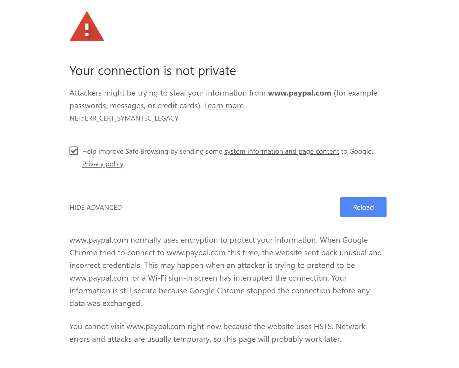 Error de su conexión no es privada en Chrome.