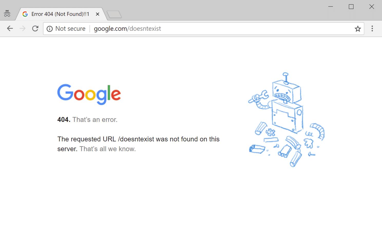 Página de error 404 en Google