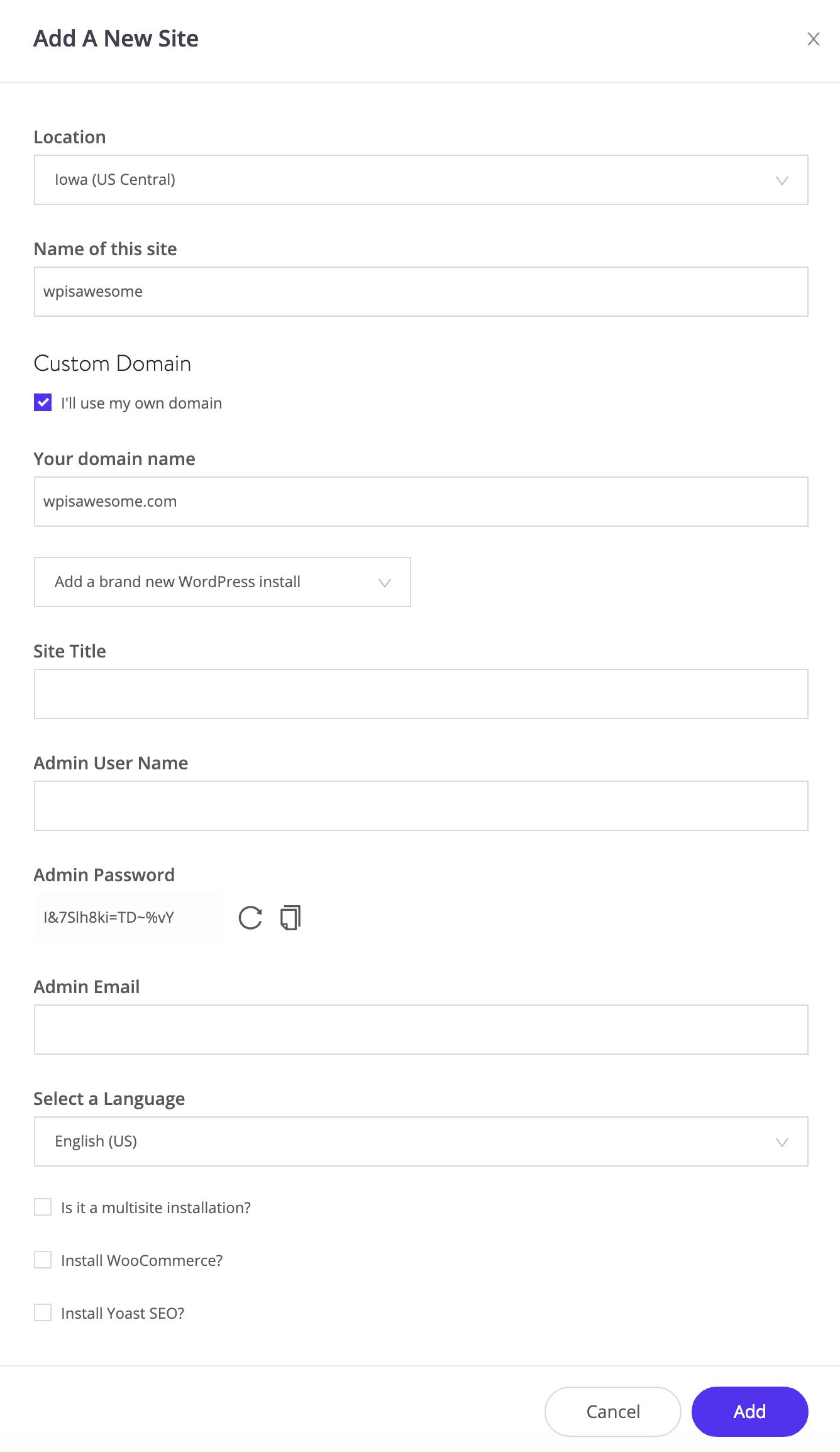 Instalación de un clic en WordPress