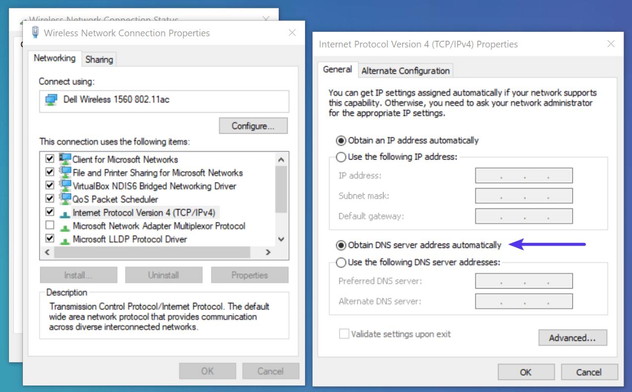 Obtenga una dirección de servidor DNS de forma automática