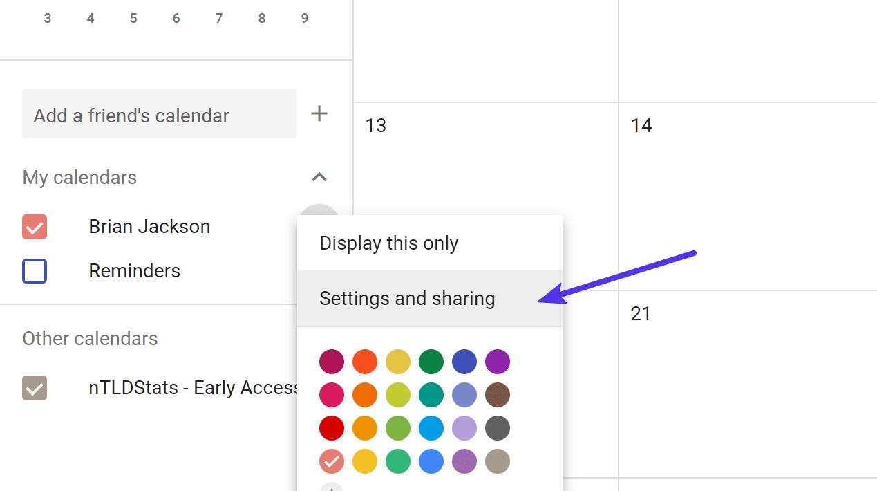 Opciones de Google Calendar y Compartir
