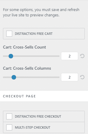 Opciones detallas del carrito/checkout