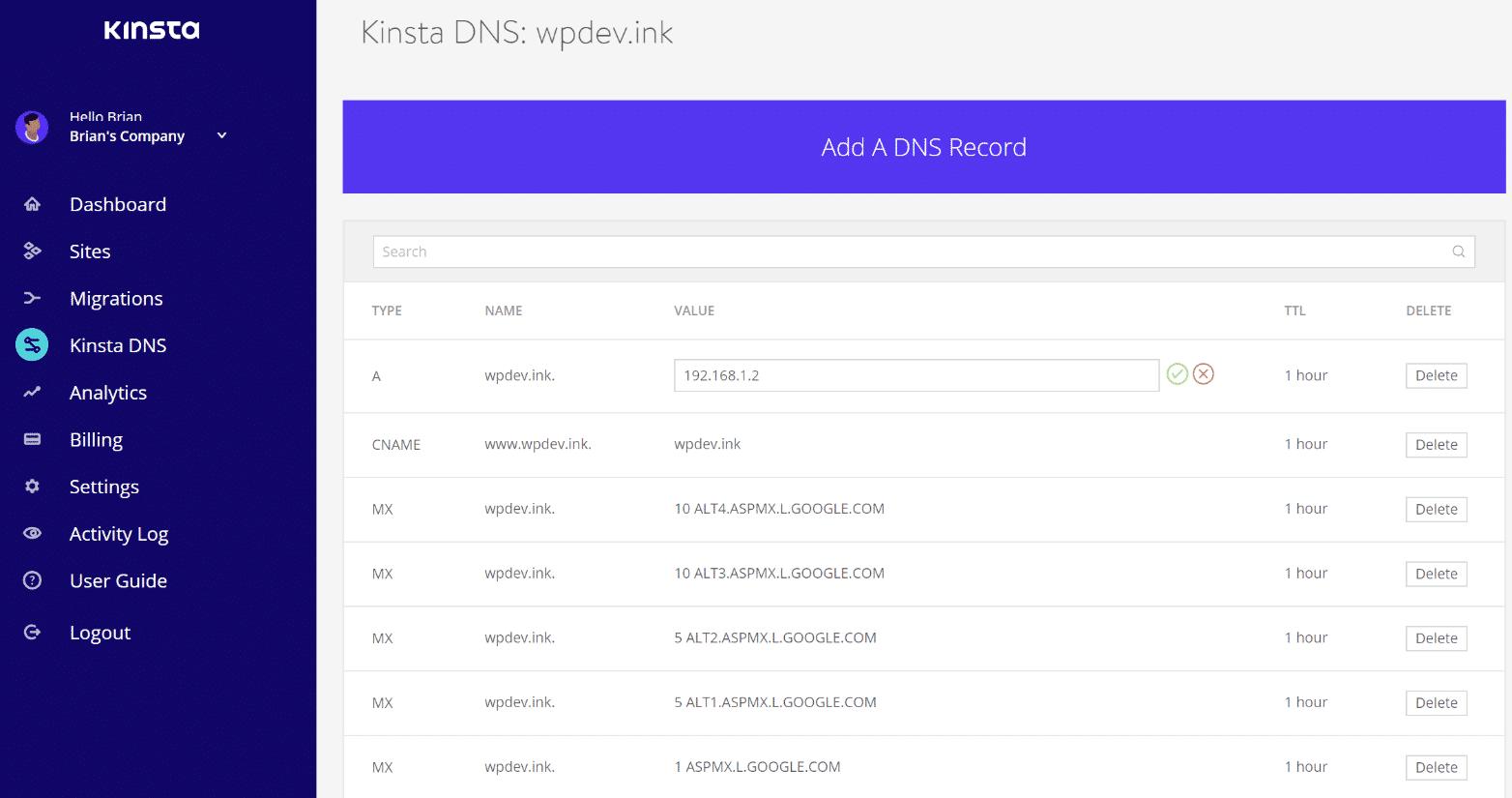 Edita los registros DNS