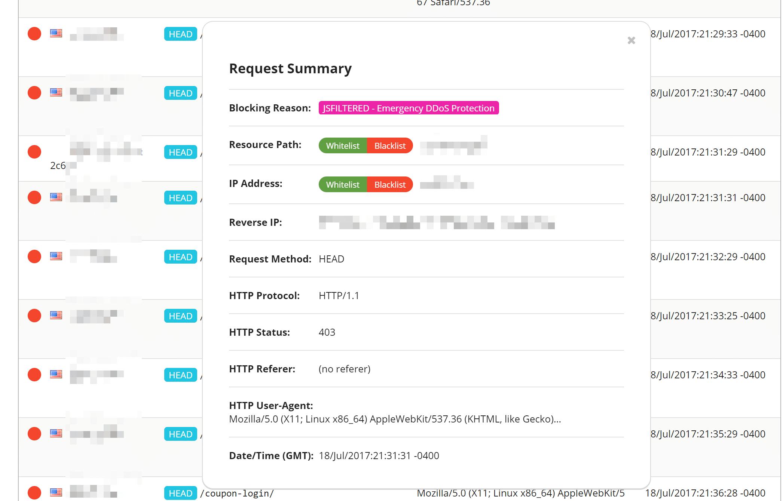 Vista de Protección DDoS en tiempo real