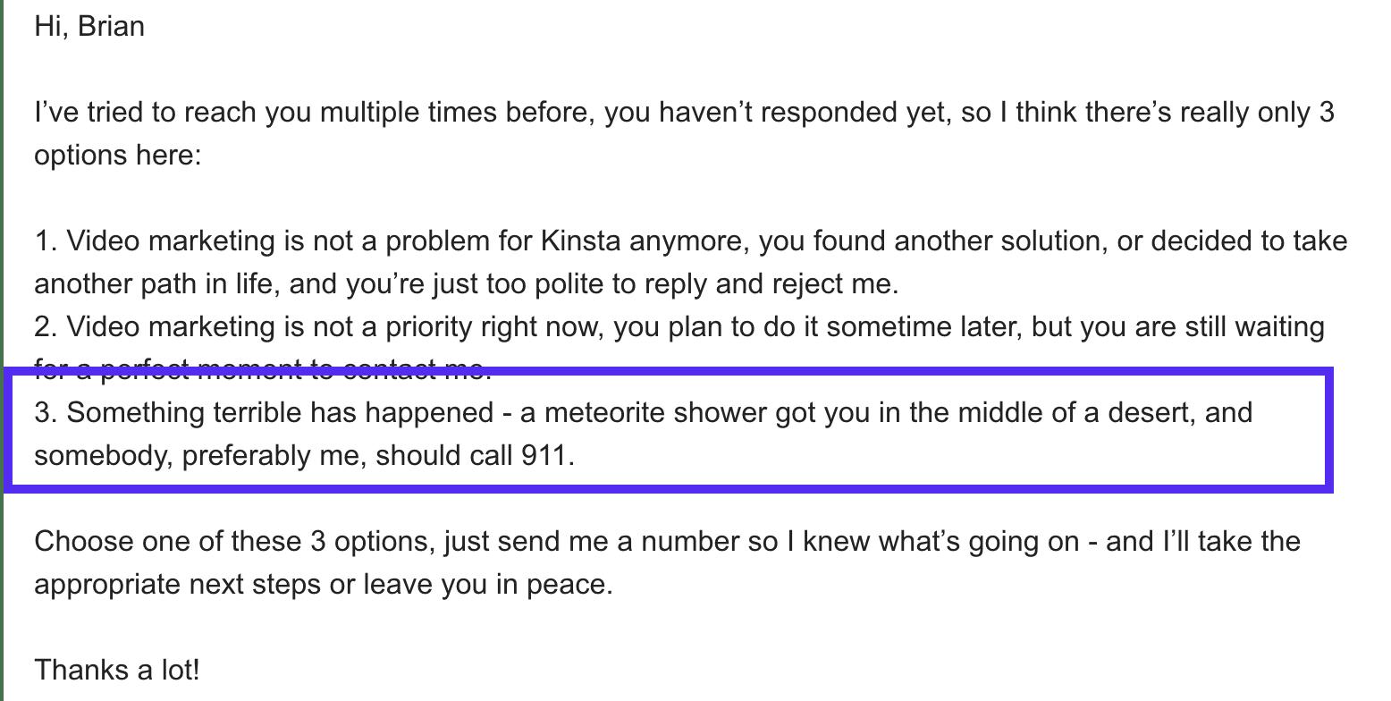Excelente ejemplo de un cold email de seguimiento
