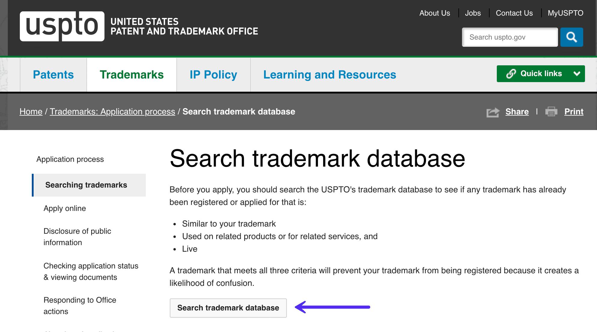 Empezando una búsqueda en la base de datos de las marcas registradas