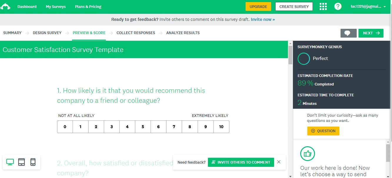 Ejemplo de encuesta terminada