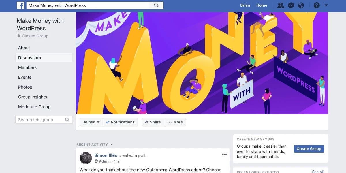 El grupo de Facebook de Make money with WordPress